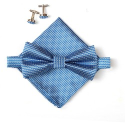 Bow tie set. bow tie, hankerchief and cufflinks. Blue.