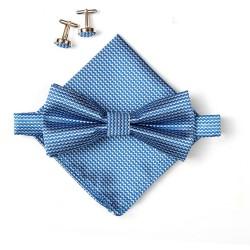 Ensemble noeud papillon, mouchoir de poche et boutons de manchettes. Bleu.