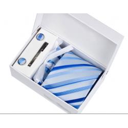 Gift box tie hanky cufflink clip set, light blue, blue stripes