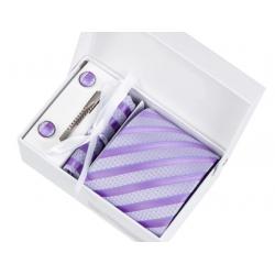 Boîte cadeau - Cravate, mouchoir, boutons et pince, Mauve pâle rayé mauve