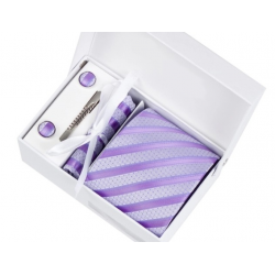 Gift box tie hanky cufflink clip set, light mauve, mauve stripes