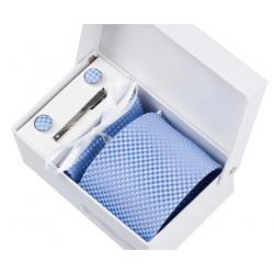 Boîte cadeau - Cravate, mouchoir, boutons et pince, Bleu pâle, petits carrés
