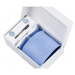 Gift box tie hanky cufflink clip set, light blue, little squares