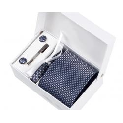 Boîte cadeau - Cravate, mouchoir, boutons et pince, Marine, petits losanges argent