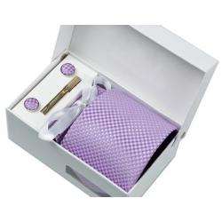 Boîte cadeau - Cravate, mouchoir, boutons et pince, Mauve, petits losanges