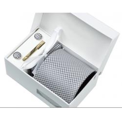 Boîte cadeau - Cravate, mouchoir, boutons et pince, Gris, petits losanges