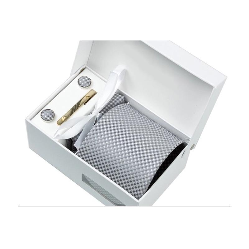 ensemble cravate bo te cadeau gris petits losanges. Black Bedroom Furniture Sets. Home Design Ideas