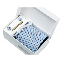 Boîte cadeau - Cravate, mouchoir, boutons et pince, Bleu pâle, petits losanges noirs