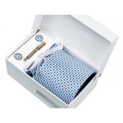Gift box tie hanky cufflink clip set, Light blue, black little lozenges