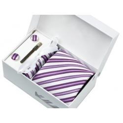 Boîte cadeau - Cravate, mouchoir, boutons et pince, Blanc, rayé mauve
