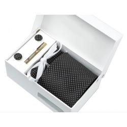 Gift box tie hanky cufflink clip set, Black, white dots