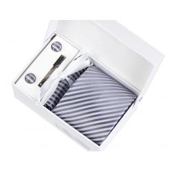 Boîte cadeau - Cravate, mouchoir, boutons et pince, Gris rayé gris pâle