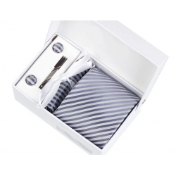 Gift box tie hanky cufflink clip set, Gray, light gray stripes