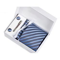 Boîte cadeau - Cravate, mouchoir, boutons et pince, Bleu denim rayé bleu