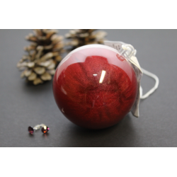 Boule Surprise de Noël Bourgogne scintillant avec boucles d'oreilles