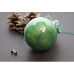 Boule Surprise de Noël Vert sapin scintillant avec boucles d'oreilles