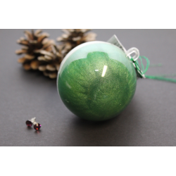 Surprise Christmas ball Glittering green with earrings