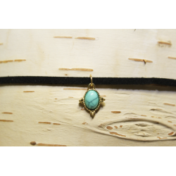 Leather necklace (chocker) Aqua stone
