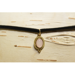 Leather necklace (chocker) Light pink stone