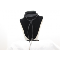 Leather necklace (chocker) Black and silver