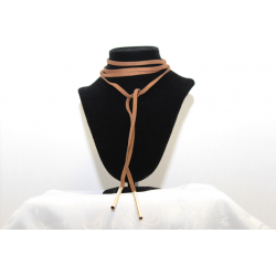Leather necklace (chocker)Brown and gold