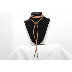 Leather necklace (chocker)Brown and silver