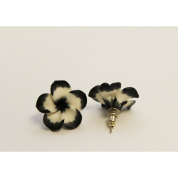 Earrings Flowers Black and white