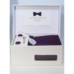 Boîte cadeau - Cravate, mouchoir, boutons et pince,  violet points blancs