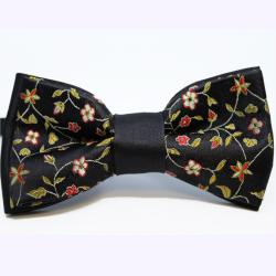 Noeud papillon Chics fleurs noir
