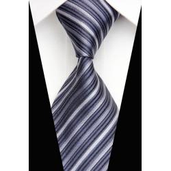 Cravate grise rayures gris foncé et blanc