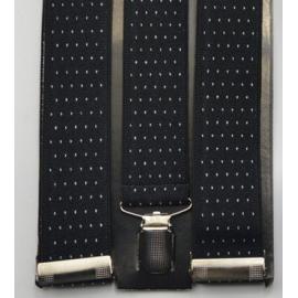 Bretelles élastiques ajustables Noir à points blancs