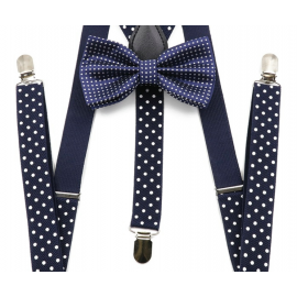 Adjustable elastic suspenders and bow tie set Navy blue with white dots