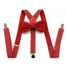 Adjustable elastic suspenders and bow tie set Red with white dots