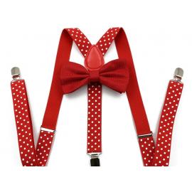 Ensemble Bretelles élastiques ajustables et Noeud papillon Rouge à pois blancs