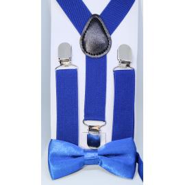 Bretelles élastiques et noeud papillon Bleu Roi pour enfants