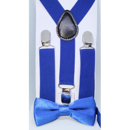 bretelles lastiques et noeud papillon pour enfants bleu roi. Black Bedroom Furniture Sets. Home Design Ideas