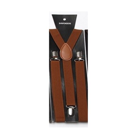 Adjustable elastic suspenders Light brown