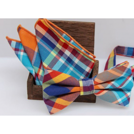Bow tie set , bow tie and handkerchief Multicolor plaid