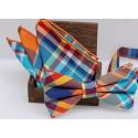 Bow tie set , bow tie and handkerchief Multicolor plaid
