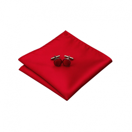 Boutons de manchettes CLV-206 Rouge 100% soie
