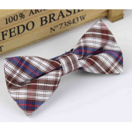 Bow tie for kids KBTMT-5 White blue brown plaid