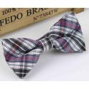 Bow tie for kids KBTMT-8 White black mauve red plaid