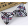 Bow tie for kids KBTMT-8 White black mauve red plaid