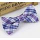 Bow tie for kids KBTMT-3 White blue mauve plaid