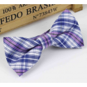 Bow tie for kids KBTMT-3 White  mauve blue plaid