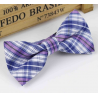 Bow tie for kids KBTMT-3 White  mauve blue plaid