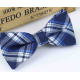 Bow tie for kids KBTMT-2 White  navy and blue plaid