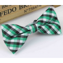 Bow tie for kids KBTMT-4 White green and black plaid