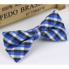 Bow tie for kids KBTMT-13 White, blue and black plaid