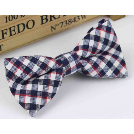 Bow tie for kids KBTMT-15 White, black and red plaid